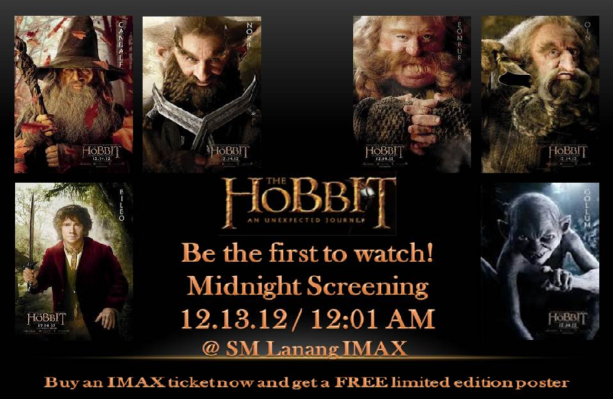 The Hobbit An Unexpected Journey Midnight Screening IMAX SM Lanang Premier Davao December 13, 2012 poster