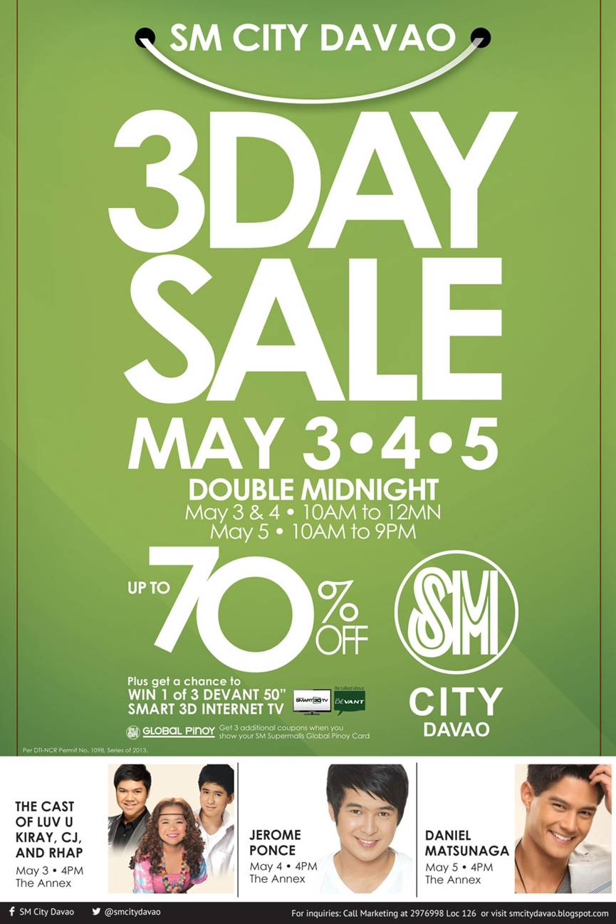 SM City Davao 3 Day Sale May 3-4-5, 2013