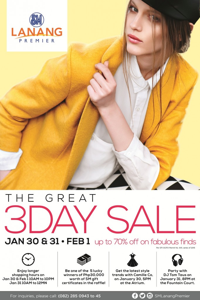 SM Lanang Premier poster 3 Day Sale January 30-31,2015