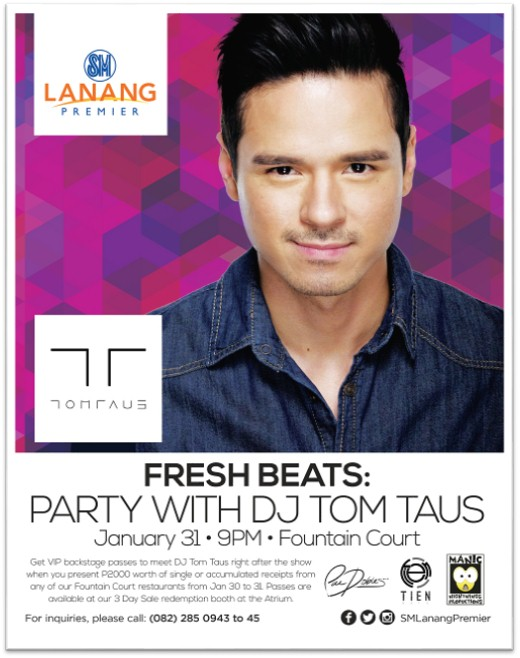 Fresh Beats: Party with international DJ Tom Taus SM Lanang poster