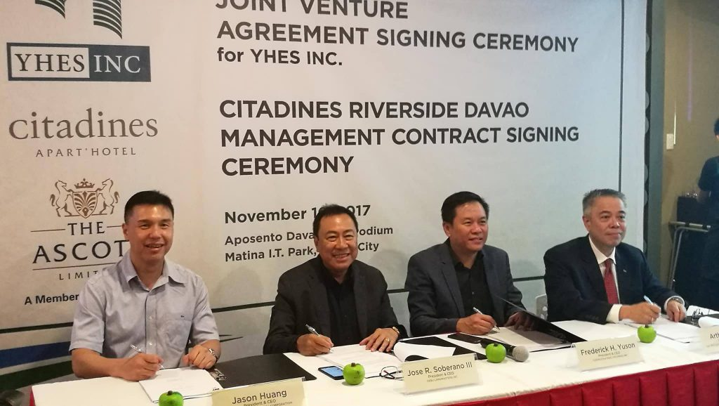 Cebu Landmasters Signs Joint Venture With YHES Inc., and Agreement with The Ascott Limited
