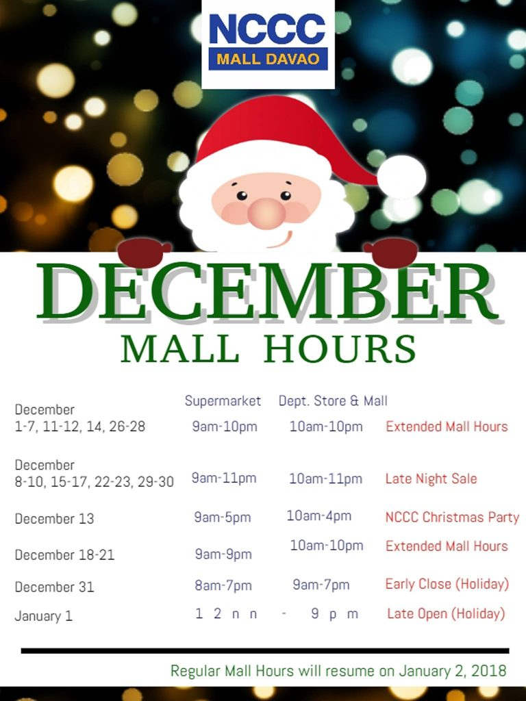 NCCC Mall Davao December 2017 holiday schedule mall hours