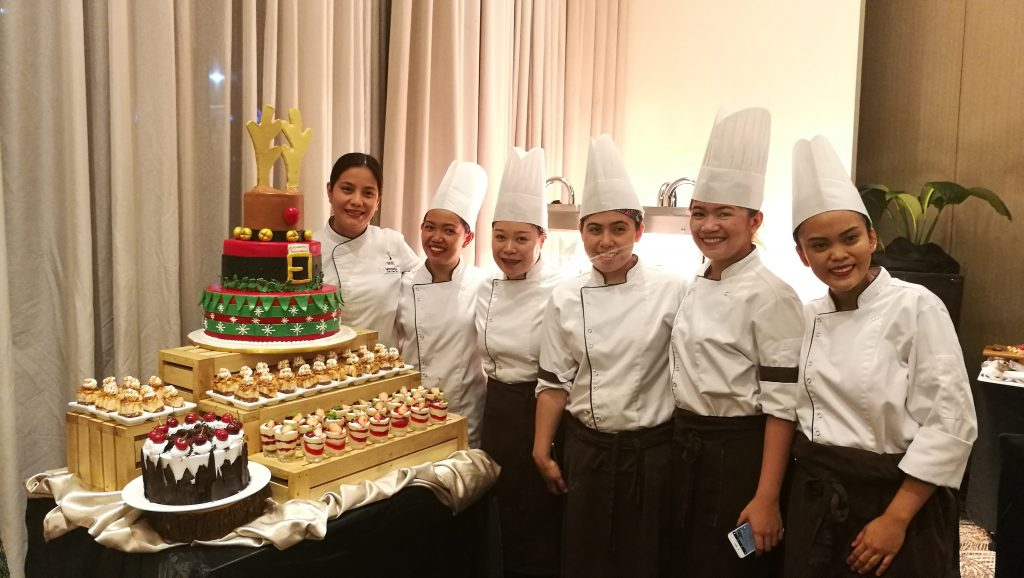 Exec. Sous Chef Bang Sibala with her Pastry Team Misto at Seda Abreeza