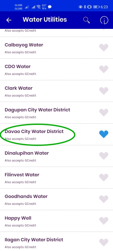 globe gcash pay bills DCWD Davao Water